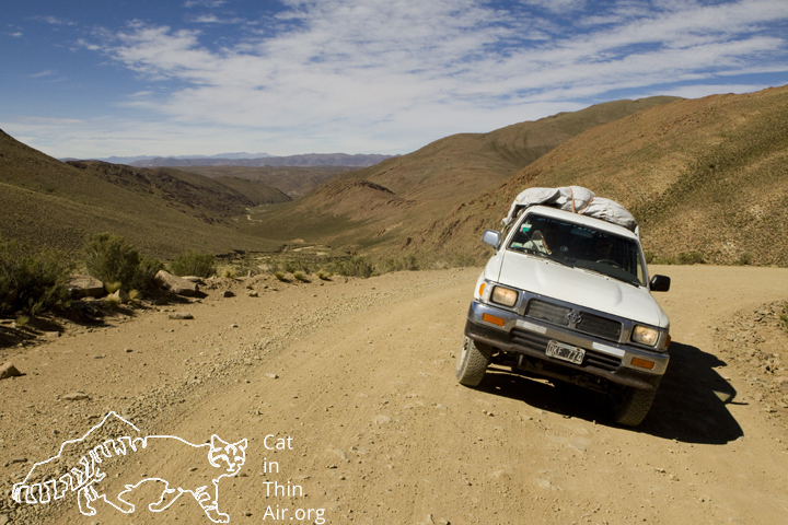 The research truck leans heavily around a corner as it climbs higher into the Andes.